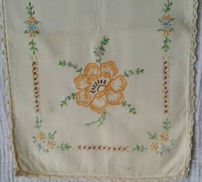 Antique Hand Stitched  Embroidered Floral Runner Floral Lace [E6] 37 x 11-1/2