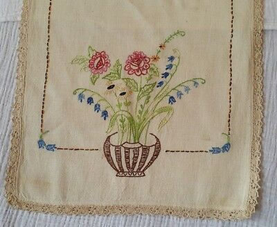 Antique Hand Stitched  Embroidered Basket Runner Floral Lace [E9] 39''x 15-1/2''