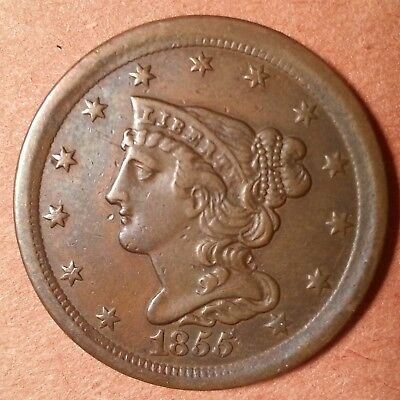 1855 Braided Hair Half Cent  (very low mintage: 56,500)