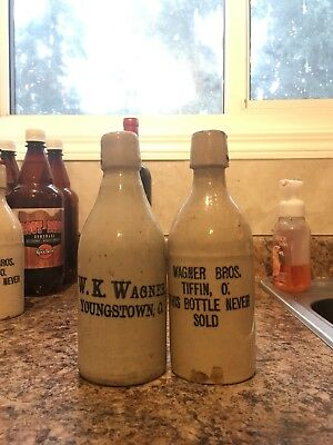 W K Wagner Youngstown / Wagner Bros Tiffin Ohio Stoneware Ginger Beer Bottles
