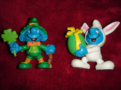 Smurf Collection Smurfs Vintage Lot Of 2 Easter Bunny And St. Patrick's Day