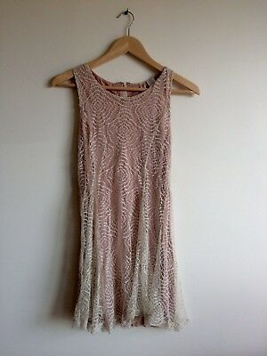 Alice Moon Lace Overlay Flare Free Dress People Boho Romantic Ivory Pink Small