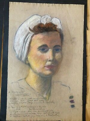 Vintage Pastel Drawing Portrait 19x12 Woman Sketchbook Original Art