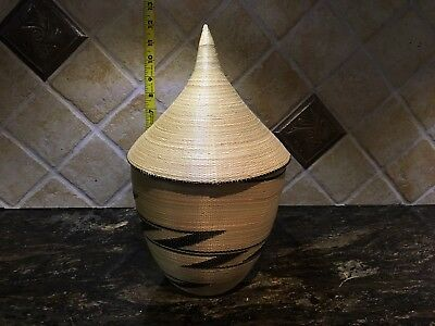 Must SEE! Incredible Handmade Finely Woven Basket BEAUTIFUL Lidded