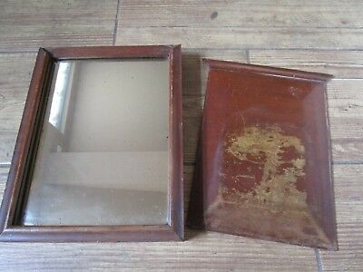 ANTIQUE 19th CENTURY MAHOGANY MILITARY CAMPAIGN TRAVELLING MIRROR SLIDING COVER