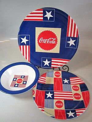 Lot of 22 Coca-Cola Patriotic Melamine Plates by Gibson 7 Dinner/7 Salad/8 Bowls