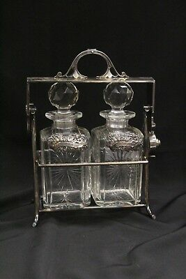 T VERY RARE Harrods London Locking Double Decanter Holder Sterling Tags Crystal