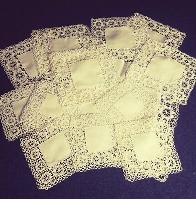 THIRTEEN piece set of vintage Reticella needle lace [ ? ] tablemats.