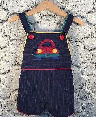 Health-Tex Kids 2T Vintage Blue Jean Striped Overall Shorts Romper Volkswagen
