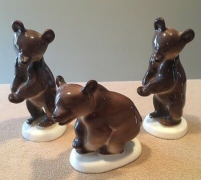 Vintage Porcelain Bears LFZ Lomonosov Russia Set of Three Great!