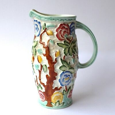 """Antique H.J. WOOD Pottery INDIAN TREE Jug Vase Hand Painted H24"""" No 579 1930s"""