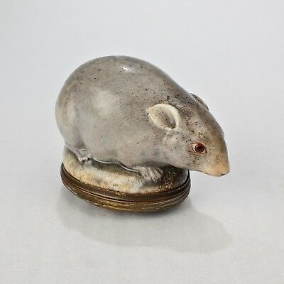 Antique 18th Century Mennecy Figural Mouse Snuff or Patch Box - PC
