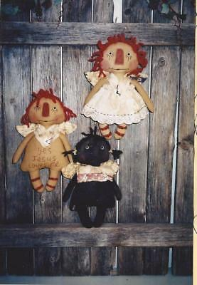 Pattern-Primitive Raggedy Angels-3 Different Ones-Out Of Print!- Ragg Bagg Babys
