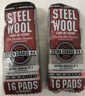 New 106107 Rhodes American Steel Wool Extra Coarse #4  16 Pads