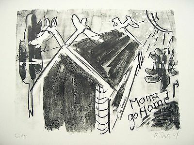 Karl Bale: moma go home, signierte Lithografie 2004
