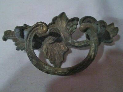 "Antique Vintage Brass Ornate Drawer Pull Handle - 3 1/2"" Across"