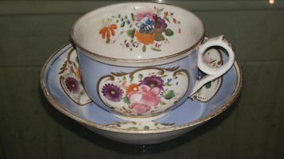Exquisite Georgian Hand Painted H & R Daniel Porcelain Cup and Saucer C 1800+