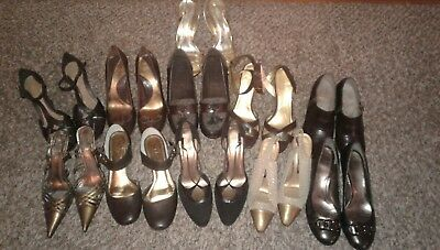 Wholesale Lot Of 11 Brown & Gold Womens Shoes Variety Of Brands Styles & Sizes