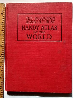 1910 HANDY ATLAS OF THE WORLD colored maps Wisconsin Agriculturist book