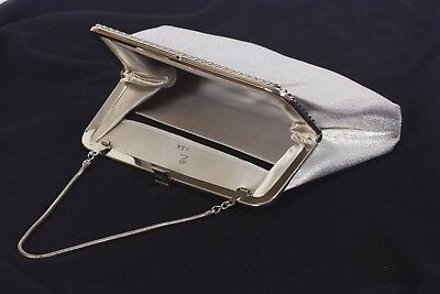 Evening Bag by Designer Harry Levine, H L USA, Vintage Silver Fabric Satin Lined