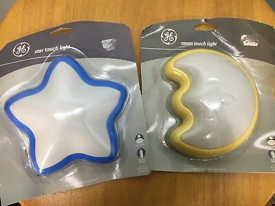 GE TOUCH LIGHTS Lot of 2 Moon Star Blue Yellow New in Damaged Packaging