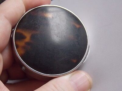 Hallmarked 1925 Sterling Silver & Tortoiseshell Rouge Compact by Walker & Hall