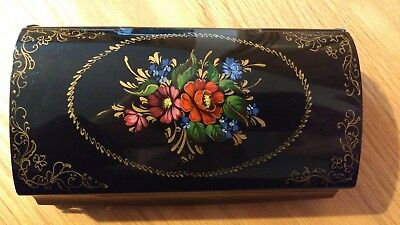 Russian Antique Vintage Metal Lacquer Box Cigar Glass Holder Possibly Zhostovo