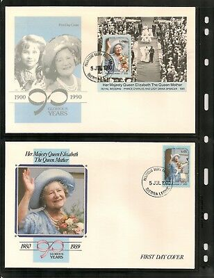 1990 SIERRA LEONE Queen Mother 90th Birthday set of 3 + m/s on 4 unadressed FDCs