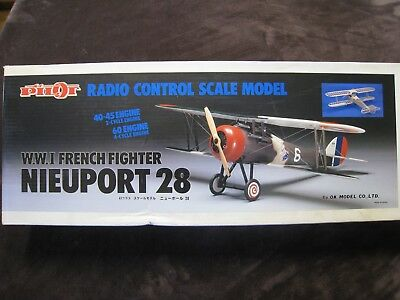 Vintage PILOT Nieuport 28 Scale RC Plane Kit with Extras
