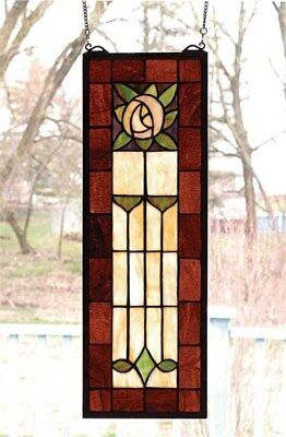 Victorian Trading Co 2 Art Deco Rose Stained Glass Windows Hanging New