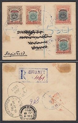 Brunei 1907 registered cover to England, GB via Labuan & Singapore