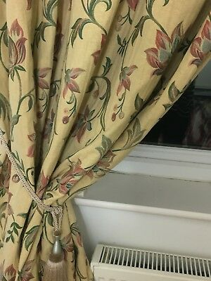 """2 X Pairs Of Large Gold Embroidered Curtains. Some Fading. 86"""" Drop"""