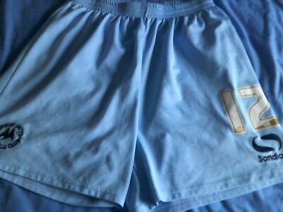 Torquay United match/player issue/worn football shorts light blue size L.