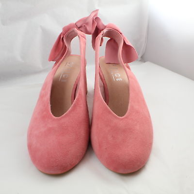 Womens Office Pink Suede Slip On Mid Heels Uk Size 5 * Ex Display