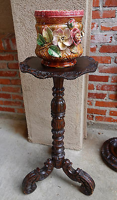 Antique English Carved Oak Pedestal Plant Stand Table Bronze Display Renaissance