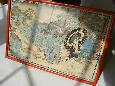 Unresearched Japanese Antique Print Rice Bamboo Paper Oriental Framed Chinese