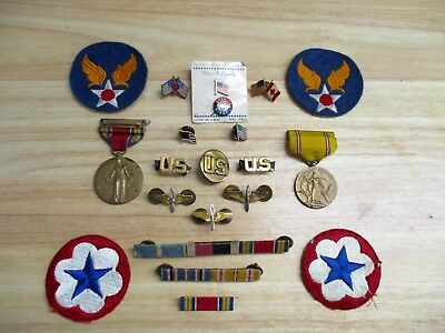 Lot US Military WWII and Vintage Patriotic Medals, Flag Pins, Patches, Bars N/R