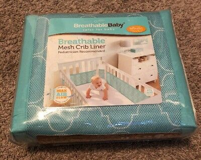 BreathableBaby Mesh Crib Liner Sea Foam Blue Green NIP