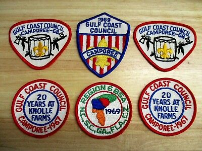 Lot  Vintage 60's Boy Scouts Patches - GULF COAST COUNCIL - Southern Region BSA