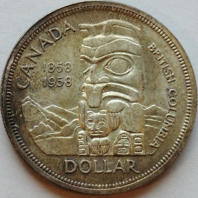 1958 Silver Canada Dollar 80% Fine British Columbia Totem Pole Rocky Mtns Toned
