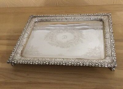 Ornate Vintage Silver Plated Rectangular Tray