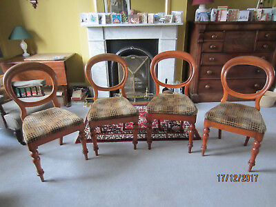 Victorian balloon back chairs (set of 4) with drop in upholstered seats