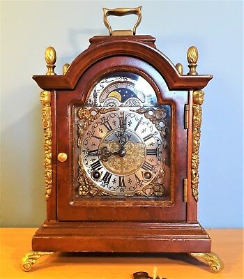 Warmink Clock Vintage Dutch Mantel Nut Wood 8 Day with Moonphase