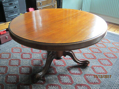Victorian mahogany tilt top round dining table on tripod and castors