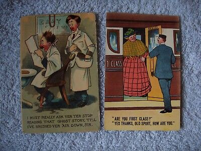 """2 Early Comic Postcards""""GHOST STORY""""1913 & """"FIRST CLASS""""1914 Both Posted."""