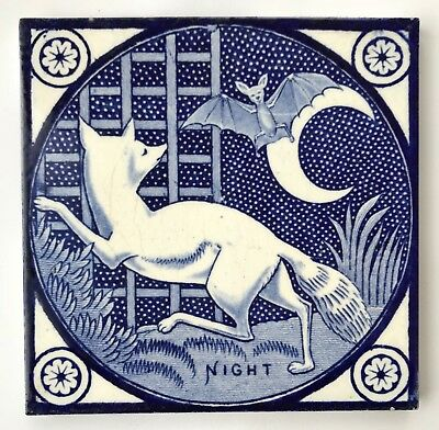 "Gorgeous Original Victorian T & R Boote Tile ""Night"" Blue and White"