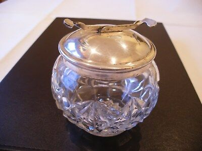 Antique Pascall's Patent S.o.s. Epns Cut Glass Lidded Sugar Bowl Built In Tongs