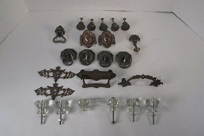 22 Piece Lot Of Antique & Vintage Drawer Pulls & Plates---Metal, Brass, & Glass
