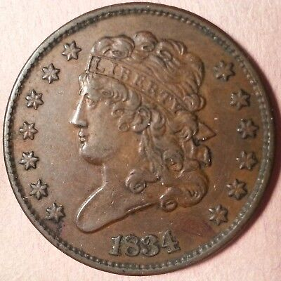 1834 Classic Head Half Cent  (low mintage: 141,000)
