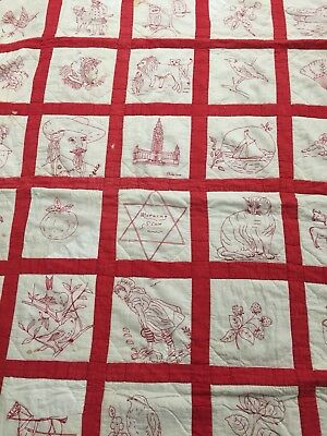 Antique Vtg 20's REDWORK Embroidered Quilt Animal Floral Characters (has issues)